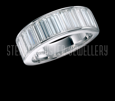 ring half princess gold eternity bands cut baguette channel white platinum set band